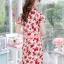 XL931 ชุดเดรสผ้าพื้นขาวลายดอกแดง เอวและชายกระโปรงแต่งระบาย น่ารักมากค่ะ ใส่สบาย ใส่ได้หลายโอกาส thumbnail 7