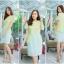 M,L,XL,2XL ชุดเดรสเสื้อผ้าคอตตอลปักไหมญี่ปุ่นผ้านำเข้า สีเขียวปักฉลุสวยมาก แต่งระบายด้านข้างรอบสะโพก กระโปรงผ้า Varantino thumbnail 4