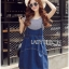 Lady Alexa Street Chic Striped T-Shirt with Denim Overall Dress thumbnail 1