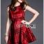 Lady Ribbon's Made Lady Cris British Elegant Check Printed Beige Dress สีแดง thumbnail 2