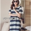 Lady Catherine Colourful Striped Lace Dress with Ruffled Sleeves thumbnail 1
