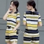 Cliona Made' Colorfull Strip Top + Short Set สีเหลือง thumbnail 2
