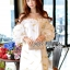 Lady Ashley Emy Summery Off-Shoulder Gold Feather Embroidered Organza Dress thumbnail 2