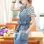 Seoul Secret Say's... Chill Cami Denim Dress Stripy Cami Blouse Set thumbnail 3