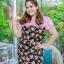 3 Size= XL,3XL,5XL ชุดเดรสสาวอวบ++ผ้า Sanfox พื้นดำ ทอลายดอกชมพู จุดเด่นของชุดนี้ตัดต่อด้านบน และแขนด้วยผ้า Hanako สีชมพู thumbnail 13