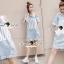 Seoul Secret Say's... Moda Screening Print Chic Vintage Blue Denim Dress thumbnail 6