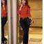 เสื้อทำงาน คอเต่า แขนยาว ผ้าฝ้ายผสมชีฟอง ทรงเข้ารูป เสื้อทำงานสีส้ม รหัส 73992-ส้ม thumbnail 9