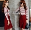 Lady Ribbon's Made Lady Elena Super Chic Striped Wool Knit Sweater and Overall Dress สีแดง thumbnail 3