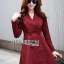Lady Ribbon's Made Lady Samantha Smart Chic Double-Breasted Cotton Dress สีแดง thumbnail 1