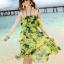 ชุดเดรสสั้น โบฮีเมียนเที่ยวทะเล ผ้าชีฟอง สายเดี่ยว ลายดอกไม้ เอวยืด หน้าอกแต่งระบาย สีเขียว thumbnail 1
