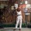 Vintage jumpsuit : จั๊มสูทแขนกุด ลายทางสีขนมชั้น เอวจั๊ม แต่งกระดุมหน้า เนื้อผ้าคอตต้อน thumbnail 2