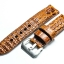 Brown Tan Genuine Leather Horn Black Crocodile Leather Watch Strap Pam Buckle 24mm thumbnail 2
