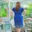 3 Size= ,2XL,3XL,4XL, ชุดเดรสสาวอวบ++ ผ้าชีฟองฉลุลายสีน้ำเงิน นำเข้าจากญี่ปุ่น แขนชีฟองระบาย 2 ชั้น thumbnail 16