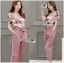 Lady Ribbon's Made Lady Jennifer Floral Printed Top and Pink Ribbon Pants Set thumbnail 1