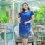3 Size= ,2XL,3XL,4XL, ชุดเดรสสาวอวบ++ ผ้าชีฟองฉลุลายสีน้ำเงิน นำเข้าจากญี่ปุ่น แขนชีฟองระบาย 2 ชั้น thumbnail 8