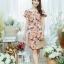 XL777ชุดเดรสผ้า Canvas พื้นส้มลายดอก แต่งปก กระเป๋า ติดโบว์ ผ้าสีขาว เพิ่มความน่ารักให้กับชุด thumbnail 1
