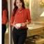 เสื้อทำงาน คอเต่า แขนยาว ผ้าฝ้ายผสมชีฟอง ทรงเข้ารูป เสื้อทำงานสีส้ม รหัส 73992-ส้ม thumbnail 8