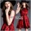 Lady Ribbon's Made Lady Cris British Elegant Check Printed Beige Dress สีแดง thumbnail 4