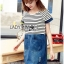 Lady Miranda Casual Minimal Striped and Denim Dress thumbnail 1