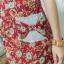 XL775 ชุดเดรสผ้า Canvas พื้นแดงลายดอก แต่งปก กระเป๋า ติดโบว์ ผ้าสีขาว เพิ่มความน่ารักให้กับชุด thumbnail 11