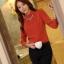 เสื้อทำงาน คอเต่า แขนยาว ผ้าฝ้ายผสมชีฟอง ทรงเข้ารูป เสื้อทำงานสีส้ม รหัส 73992-ส้ม thumbnail 5