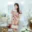 XL777ชุดเดรสผ้า Canvas พื้นส้มลายดอก แต่งปก กระเป๋า ติดโบว์ ผ้าสีขาว เพิ่มความน่ารักให้กับชุด thumbnail 5