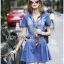 Lady Erin Casual Denim Shirt Dress with Printed Satin Scarf thumbnail 1