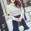 Seoul Secret Say's...Back Rive Lace Denim Dress thumbnail 1