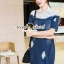Seoul Secret Say's... Lacely Colar Denim Dress สีเข้ม thumbnail 1