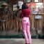 vintage pants : กางเกงยีนส์ขายาวเอวสูง สีชมพู กระเป๋าแต่งระบายหน้า/หลัง ปลายขาติดซิบ เนื้อผ้ายีนส์ไม่ยืด : thumbnail 2