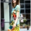 Lady Jennifer Casual Vivid Color Mix Printed Chiffon Dress สีฟ้า thumbnail 3