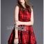 Lady Ribbon's Made Lady Cris British Elegant Check Printed Beige Dress สีแดง thumbnail 3