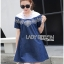 Lady Wendy Embroidered Denim Dress with Frilled Cotton Neck thumbnail 2