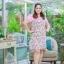3 Size= XL,3XL,5XL ชุดเดรสสาวอวบ++ผ้า Sanfox พื้นขาว ทอลายดอกชมพู จุดเด่นของชุดนี้ตัดต่อด้านบน และแขนด้วยผ้า Hanako สีชมพู thumbnail 5