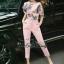 Sweet Bunny Present... Fan Print Zipper Top Pinky Pants Set With Belt thumbnail 1