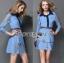 Lady Ribbon's Made Gucci Blue Denim Cotton and Lace Shirt Dress thumbnail 4