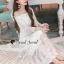 Seoul Secret Say's... Princess Curly Shoulder Off White Dress thumbnail 3