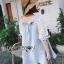 Lady Ribbon's Made Lady Lara Relaxed Lace-Sleeve Pastel Blue Mini Dress with Ribbon thumbnail 4