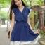 ชุดเดรสสั้น ผ้าชีฟอง สีน้ำเงิน thumbnail 1