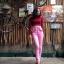 vintage pants : กางเกงยีนส์ขายาวเอวสูง สีชมพู กระเป๋าแต่งระบายหน้า/หลัง ปลายขาติดซิบ เนื้อผ้ายีนส์ไม่ยืด : thumbnail 1