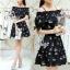 Sevy Cherry Blossom Off Shoulder Elastic Waist Mini Dress thumbnail 2