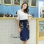 Sweet Bunny Present... Korea Embroidered Butterfly Pencil Skirt Set thumbnail 2