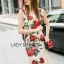Lady Ribbon's Made Lady Monique Sophisticated Red Roses Printed Peplum Dress thumbnail 2