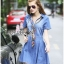 Lady Erin Casual Denim Shirt Dress with Printed Satin Scarf thumbnail 2