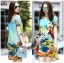 Lady Jennifer Casual Vivid Color Mix Printed Chiffon Dress สีฟ้า thumbnail 4
