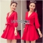Lady Ribbon's Made Lady Stella Sexy Vivid Color Wrap Dress with Ribbon สีแดง thumbnail 3