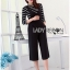 Lady Ribbon's Made Lady Chiara Minimal Chic Striped Top with Overall Jumpsuit Set thumbnail 1