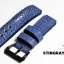 Blue Genuine Leather Middle Center Back Stingray Leather Watch Strap Pam Buckle 24/20 mm thumbnail 1