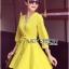 Lady Ribbon's Made Lady Stella Sexy Vivid Color Wrap Dress with Ribbon สีเหลือง thumbnail 2