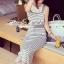Seoul Secret Say's... Chic Stripy bib Dress สีเทา thumbnail 4